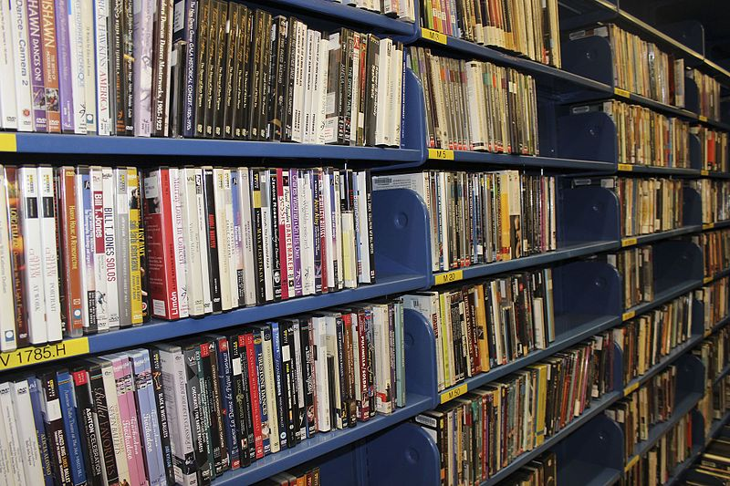 photograph depicts rows of DVDs organised neatly