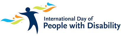 Header image depicting the symbol for International Day of People with Disability, a dark blue figure standing with arms outstretched in the wind