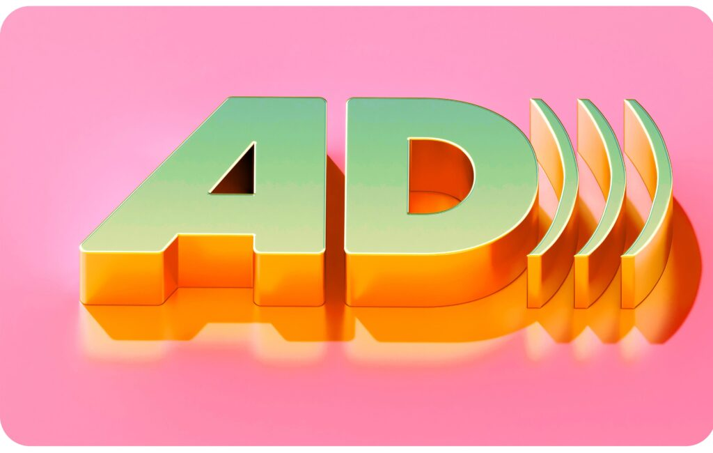 A gold three dimensional audio description 'AD' icon on a candy pink background