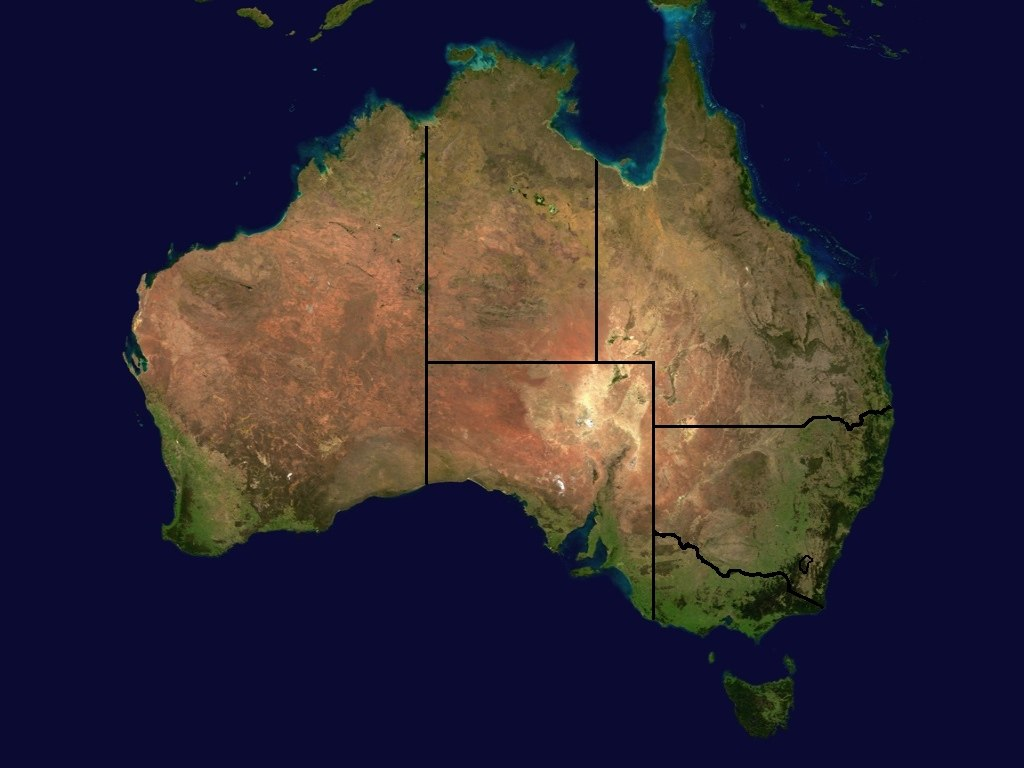A colourful satellite image of Australia taken from space, with state lines added. It shows variation in colour between green coastlines and sandy desert areas.