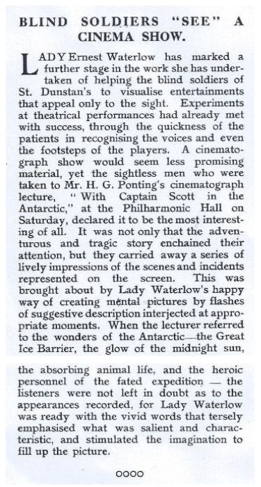 """Screenshot of 1917 article titled 'Blind Soldiers """"See"""" A Cinema Show"""